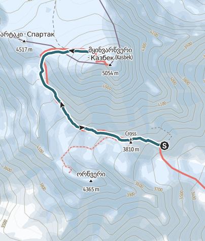 Cartina / Kasbek Pkt. 4700m, Kaukasus Ost