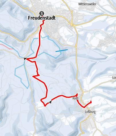 """Map / Tannenriesen - Winterwanderung von Loßburg und Freudenstadt zur Hütte """" Zum Strutwirt"""" im Schwarzwald"""