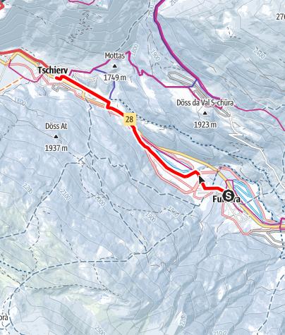 Karte / Winterwanderweg Fuldera - Tschierv