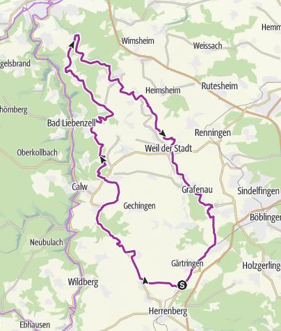 """Karte / Von Nufringen zur """"Hohe Warte"""" und zurück durchs Würmtal."""