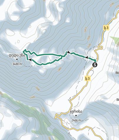 מפה / Deda Ena NW 3285m, Kaukasus Ost