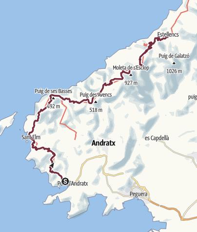 Karte / GR221 1. Etappe von Puerto Andratx nach Sant Elm, la trapa, Finca ses Fontanelles bis Estellencs