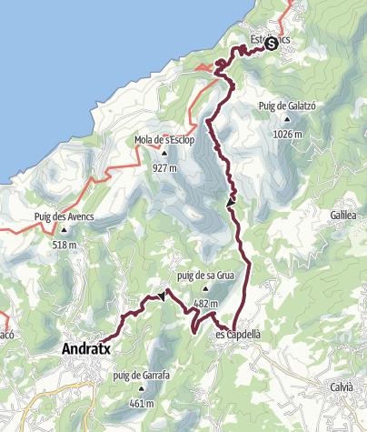 Karte / Estellencs nach Andratx über Es Capdella