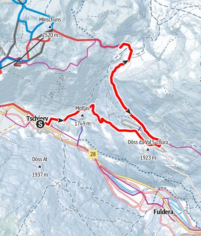 Karte / Winterwanderweg Tschierv – Lü – Alp Champatsch - Lü