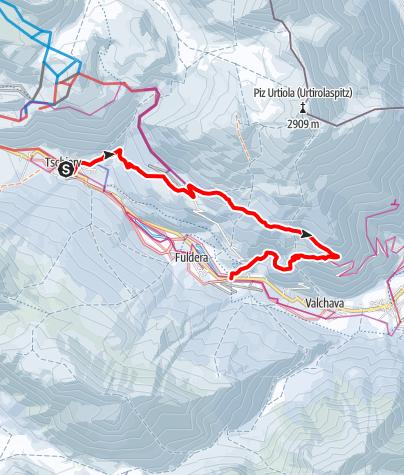 Map / Winterwanderweg Tschierv - Lü – Craistas - Furom