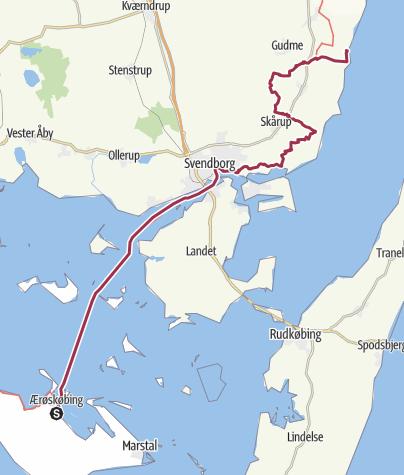 Carte / 75. Le Havre - Stockholm à pieds. Etape 75: Aeroskobing  -  Lundeborg (5874 Hesselager).