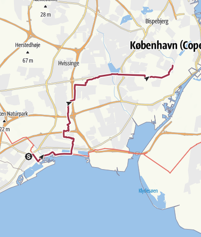 Carte / 83.3 / Le Havre - Stockholm à pieds. Etape 83.3: Ishoj  -  Copenhague-Frederiksberg Danhostel Hovedcontor.