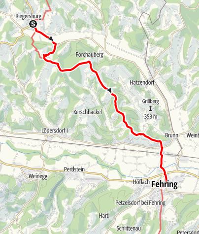 Karte / Etappe 32 Vom Gletscher zum Wein Nordroute Riegersburg - Fehring