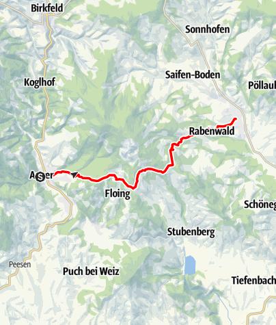 Karte / Etappe 26 Vom Gletscher zum Wein Nordroute Anger - Pöllau