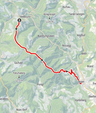 Karte / Etappe 25 Vom Gletscher zum Wein Nordroute Almenland Brandlucken - Anger