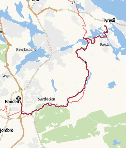 Carte / Le Havre - Stockholm à pieds. Etape 130: Handen  -  Tyresö 135 60.