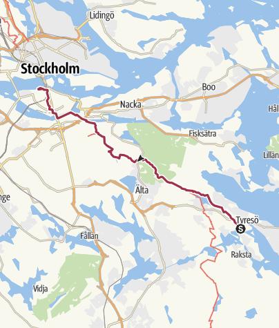Carte / Le Havre - Stockholm à pieds. Etape 131: Tyresö  -  Stockholm 118 25.
