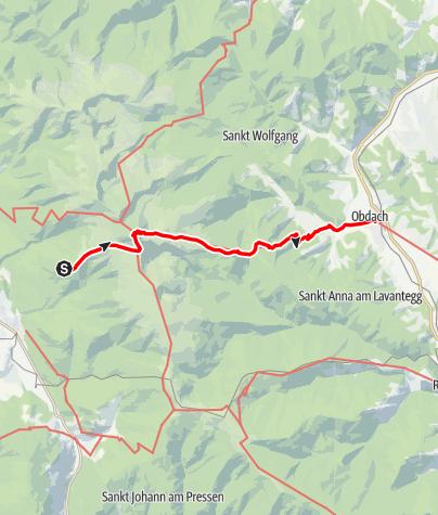 Karte / Etappe 14 Vom Gletscher zum Wein Südroute Tonnerhütte Zirbitzkogel - Obdach