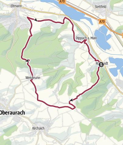 Karte / Rundwanderung: Roßstadt - Lembach - Eltmann - Dippach - Roßstadt