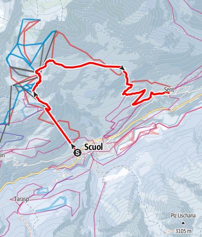 Karte / Via Engiadina Winter, Etappe 3 Scuol – Motta Naluns – Vastur – Sent
