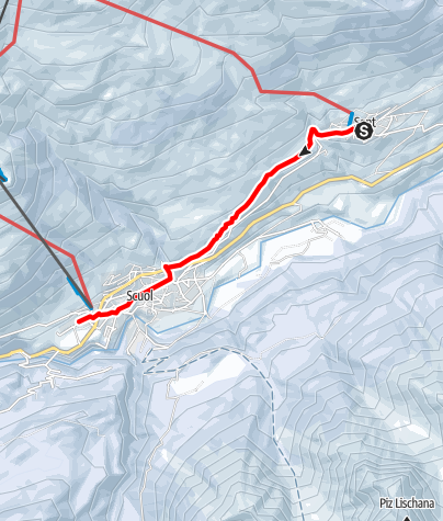 Map / Winterwanderweg Sent – Chauennas – Scuol