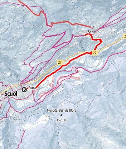 Map / Winterwanderung Scuol – La Fuorcha – Sent