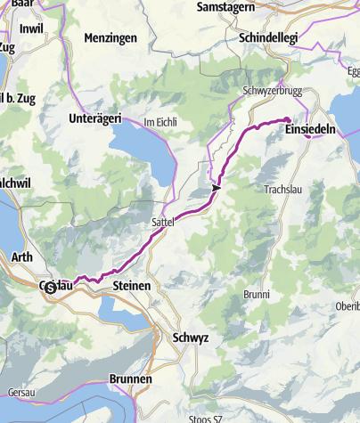 Karte / Schleifenroute CH / Arth Goldau - Einsiedeln  / Etappe 7