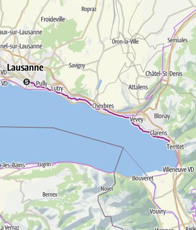 Karte / Schleifenroute CH / Lausanne - Montreux / Etappe 11