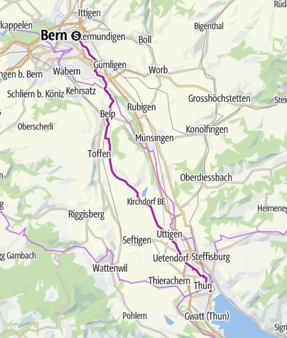 Karte / Schleifenroute CH / Bern - Thun / Etappe 15