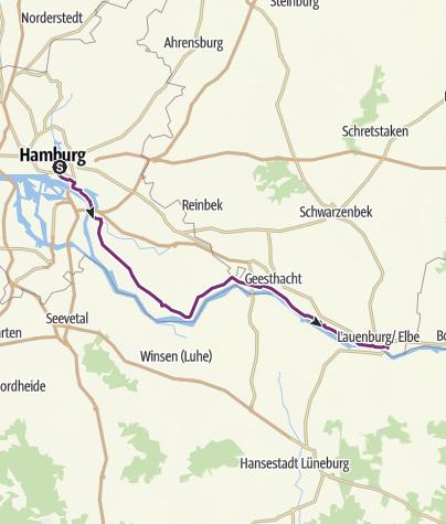 Karte / Schleifenroute DE Hamburg - Lauenburg Elbe Etappe 132
