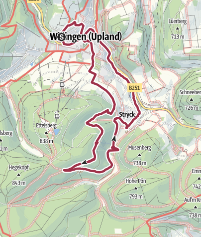 Map / Hiking Trail in Sauerland on 21 February 2020