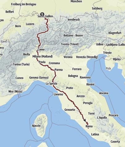 地图 / Mein Pilgerweg Konstanz - Rom mit Hund