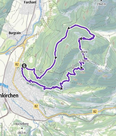 Karte / Wank über Tannenhütte -  Sonnenalm - Frauenmahd - Hüttlsteig - Parkplatz