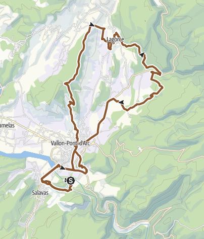 Carte / MTB Autour de Vallon-Pont-d'Arc (Ardéche)