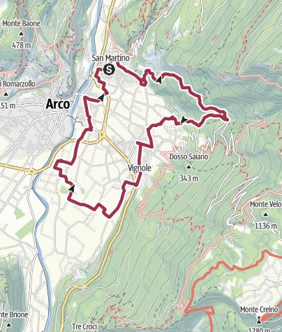 Map / Alto Garda-Un giro nell'Oltresarca (San Martino, Bolognano, Pratosaiano, Caneve)