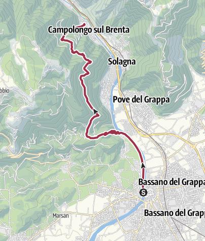 Hartă / Valsugana, Vicenza-Alta Via del Tabacco, tappa01 Bassano-Campolongo