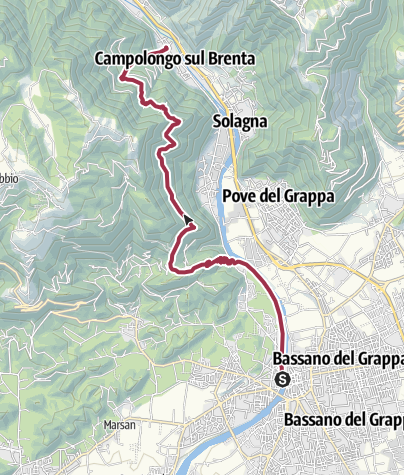 Térkép / Valsugana, Vicenza-Alta Via del Tabacco, tappa01 Bassano-Campolongo