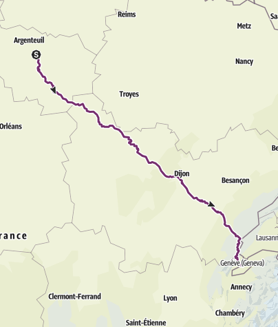 Map / Paris - Geneva Cycle