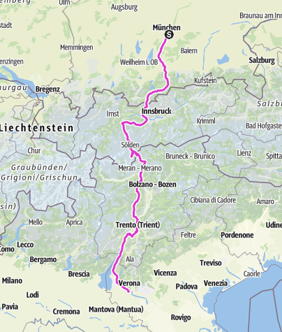 Karte / Giro Monaco - Verona