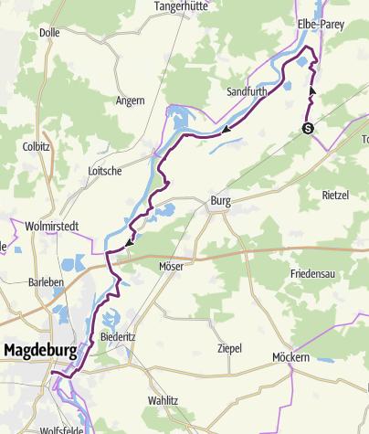 Karte / Schleifenroute DE Güsen - Magdeburg Etappe 145/2 Alternativroute