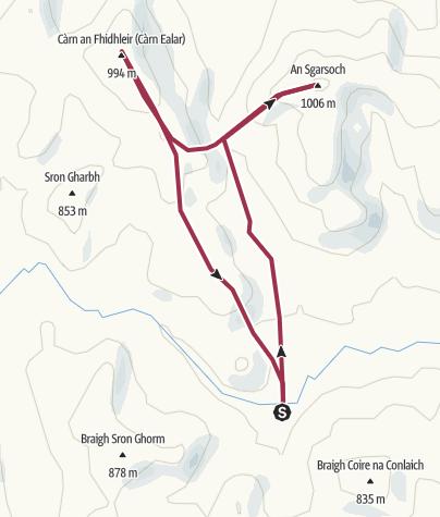 Map / An Sgarsoch & Carn an Fhidhleir from Tarf Hotel