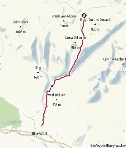 Map / Feith Uaine Bothy back to Blair Atholl