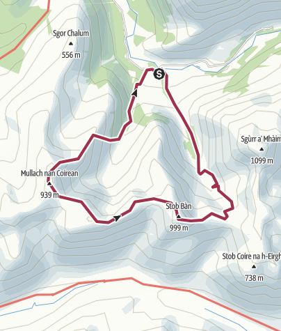 Map / Mullach nan Coirean and Stob Ban, Mamores