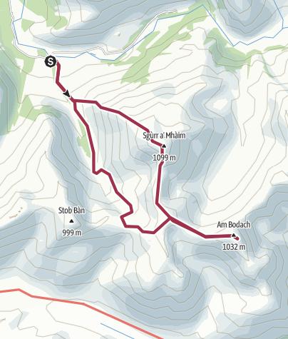 Map / Sgurr a' Mhaim and Am Bodach, Mamores