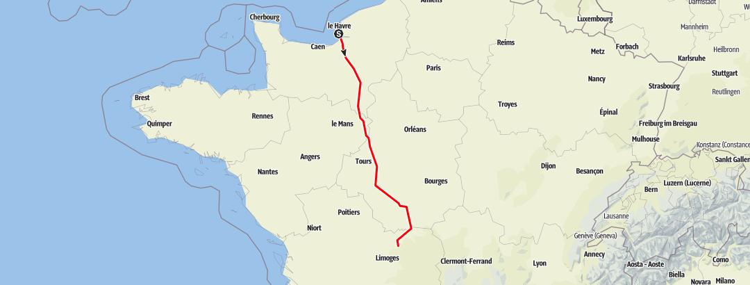 Map / Le Havre to St Etienne de Fursac