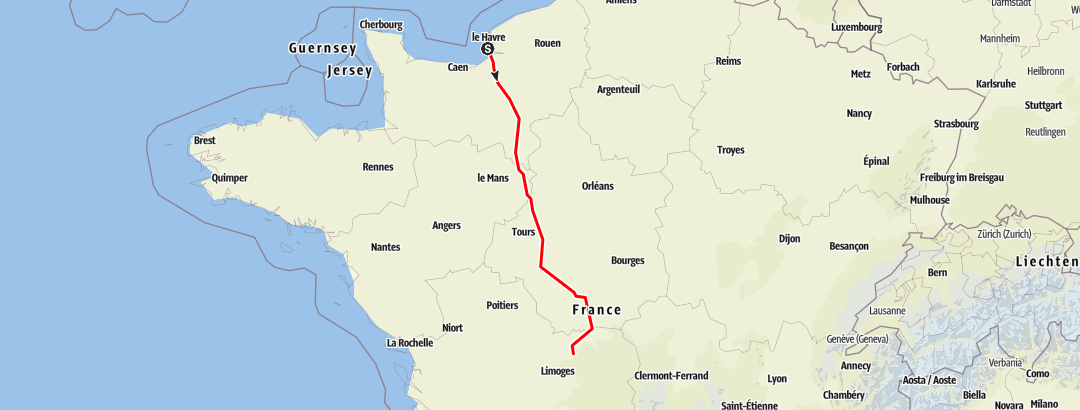 Map / Day 01 Le Havre to Millau