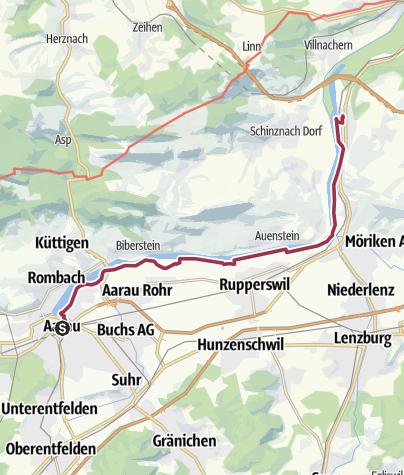 Karte / Schleifenroute CH / Aarau - Schinznach-Bad / Wanderung 6
