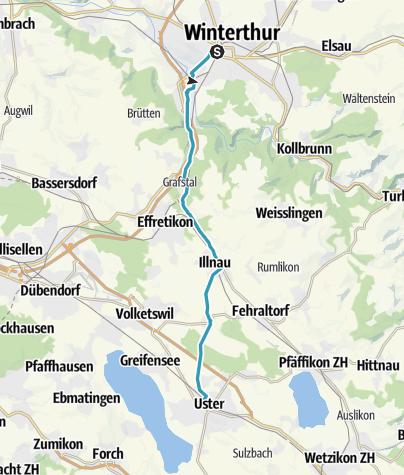 Karte / Schleifenroute CH / Winterthur - Uster / Inline-Skating 3