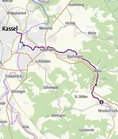 Karte / Schleifenroute DE Hessisch Lichtenau - Kassel Etappe 155