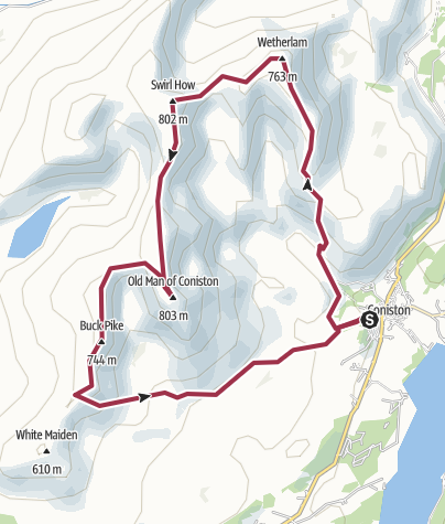 Map / 34D: Coniston Old Man from Coniston