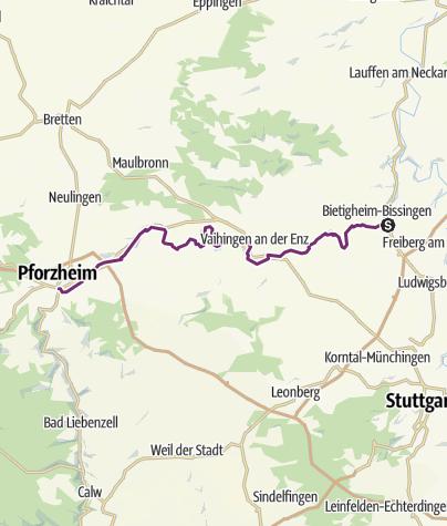 Karte / Schleifenroute DE Bietigheim-Bissingen - Pforzheim Etappe 33