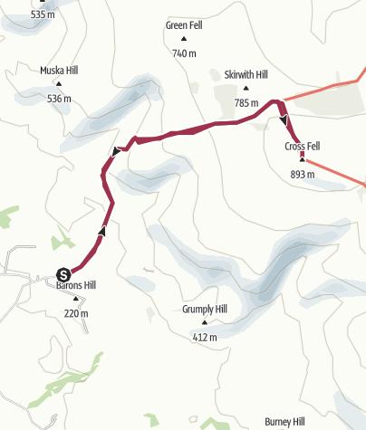Map / Cross Fell from Kirkland