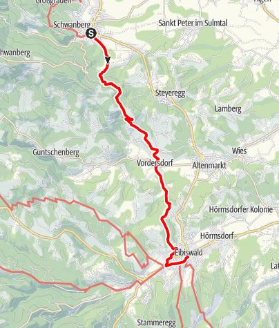 Karte / Etappe 20 Vom Gletscher zum Wein Südroute Schwanberg - Eibiswald