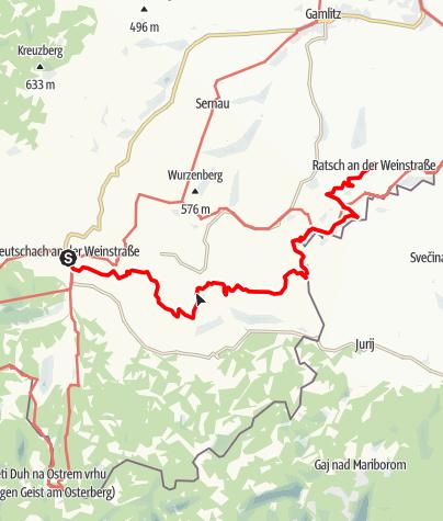Karte / Etappe 23 Vom Gletscher zum Wein Südroute Leutschach - Ratsch an der Weinstraße