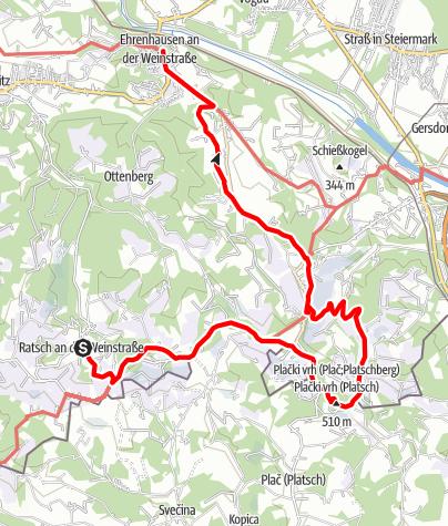 Karte / Etappe 24 Vom Gletscher zum Wein Südroute Ratsch an der Weinstraße - Ehrenhausen
